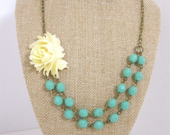 Turquoise Statement Necklace Flower Necklace Double Strand Chunky Necklace Bridesmaid Necklace Wedding Jewelry