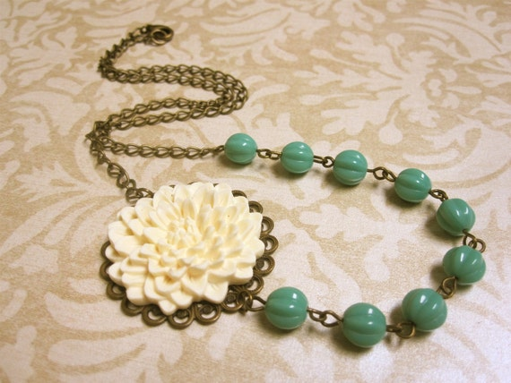 Filigree Ivory Flower and Turquoise Beads Necklace with Matching Earrings