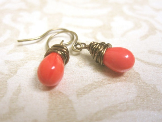 Small Coral Red Wire Wrapped Czech Glass  Drops