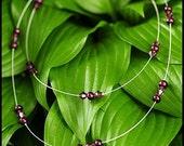 Purple Pearl and Swarovski Crystal Multi Strand Floating Necklace-Elayna Necklace