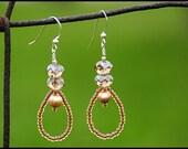 Taupe  Pearl and Crystal Earrings- Emma Earrings