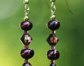 Purple Pearl and Swarovski Crystal Earrings - Elayna Earrings