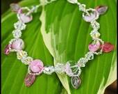 Pink Glass Bead and Swarovski Crystal Bracelet - Morgan Bracelet