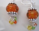 Orange Lampwork Earrings With Glass and Swarovski Crystal Dangles With Pewter Accents - Hannah Earrings