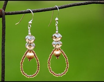 Taupe  Pearl and Crystal Earrings- Emma Earrings