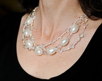 White Multi Stand Pearl and Crystal Necklace With Silk Ribbon - Megan Necklace