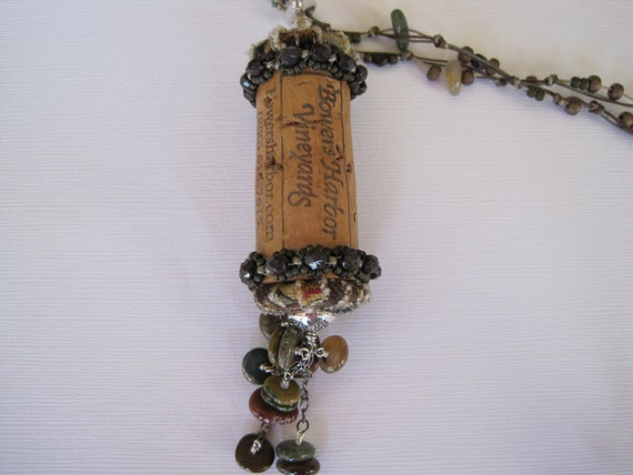 Upcycled Cork, Fabric and Semi-Precious Stone Pendant and Necklace with Pewter Accents