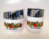 Vintage Sugar and Creamer by Gemco With French Words Le Sucrier and Pot a Creme