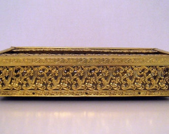 Ornate Goldtone Vintage Tissue Box