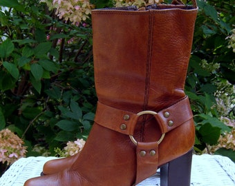 Vintage Brown High Heel Bass Leather Boots - Womens Size 6 1/2- M