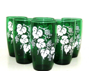 Six Vintage Emerald Green Grapevine Drinking Glasses