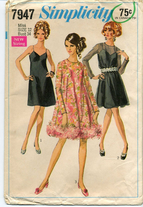 Vintage Dress and Slip or Slip Dress Sewing Pattern - Simplicity 7947 - Size 12