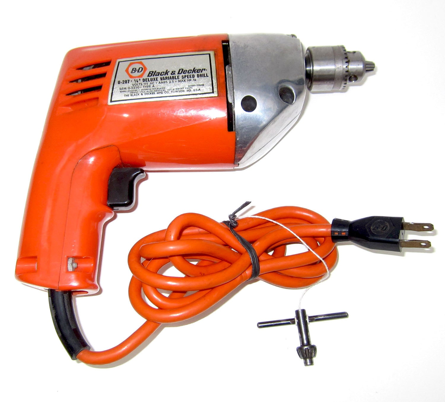 Vintage Orange Black Amp Decker Electric Drill With Chuck Key