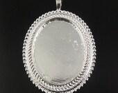 Silver plated setting dangle pendants findings 6pcs inner 31054