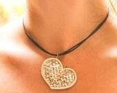Heart pendant, All My Love - OOAK handmade fine silver heart pendant warp and weft