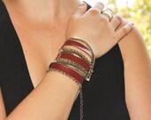 Bordeaux multi wrap leather bracelet- metal chains