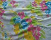 Vintage Sheet Fat Quarter, Bright Impressionist Bouquet