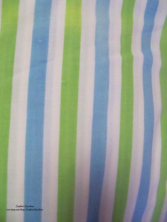 Vintage Sheet Fat Quarter, Bright Blue & Green Stripes