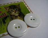 Pair of Extra Large Buttons-White Swirl