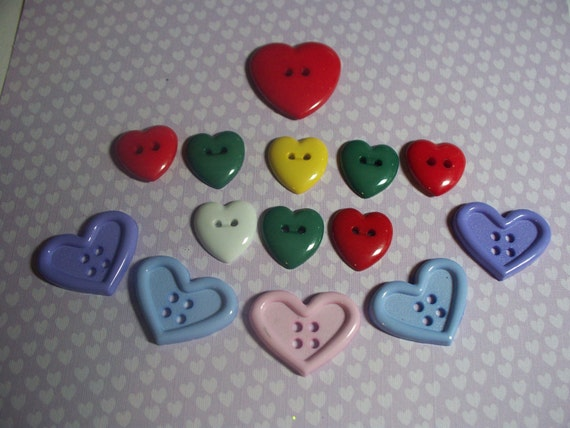 Buttons-Assorted Hearts in Primary and Pastel colors