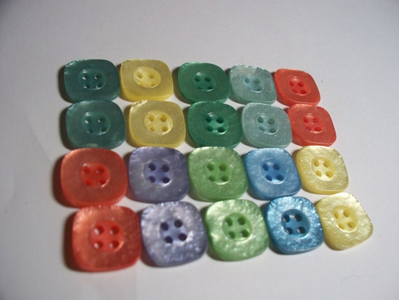 Buttons-Square Pastel Shimmer Pairs