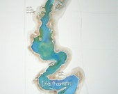 Grand Scale, Custom Watercolor Map of Your Favorite Lake, Bay, or Beach 14x20 or 18x24 in