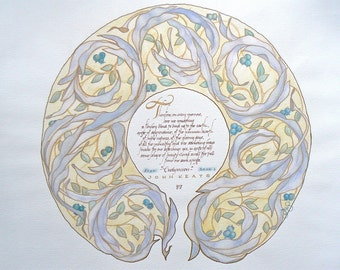 Wreath Painting Calligraphy, original watercolor art customized for your tribute, saying, or dedication