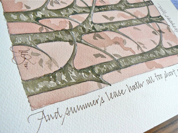Shakespeare Sonnet 18 excerpt, original signed watercolor 9x12 in. painting