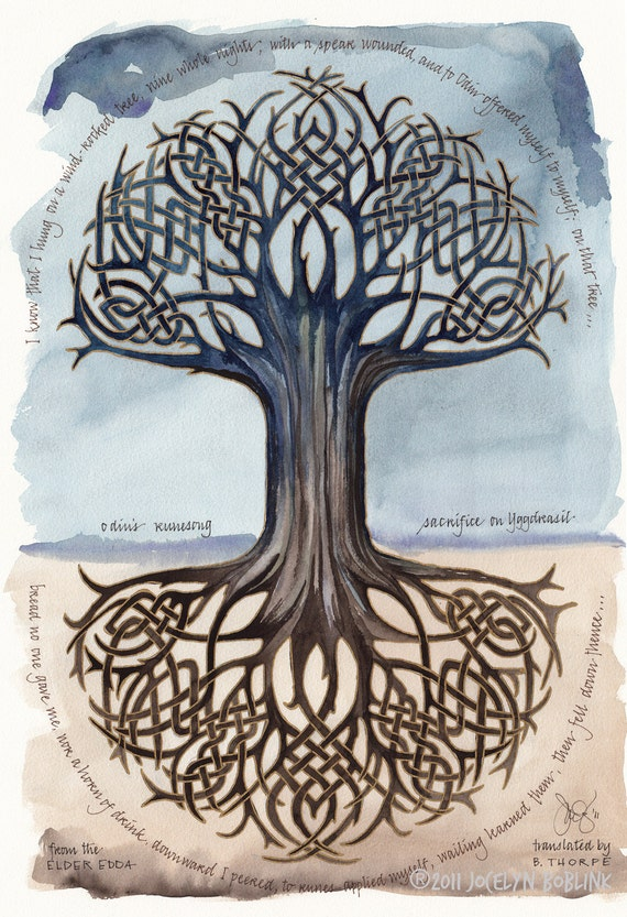 Odin's Runesong print, 16x23 in. giclee of watercolor calligraphy poem, tree of life