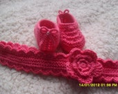 Clearance. Headband and Booties Baby Girl Set. 0 - 3 months.