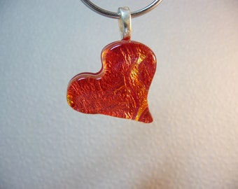 Fire within-Dichroic Fused glass Heart Pendant-Handmade-OOAK-SRA