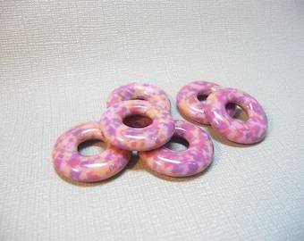 Handmade Set of 6 Round Tribal Beads-Pate De Verre-Pink mix-SRA-pink glass beads-purple glass beads-glass donut beads
