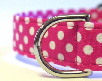 Pink with White Polka Dots Collar