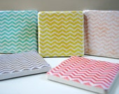 Chevron Decor set of 5 Italian Stone Coasters
