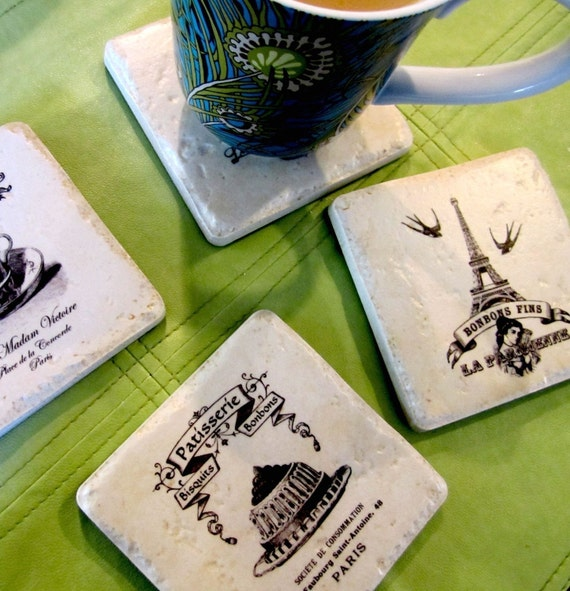 Coasters The French Patisserie set of 4 Italian stone coasters