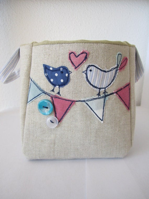 Bunting and birdy linen basket