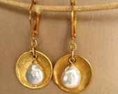 Freshwater coin pearl cup earrings