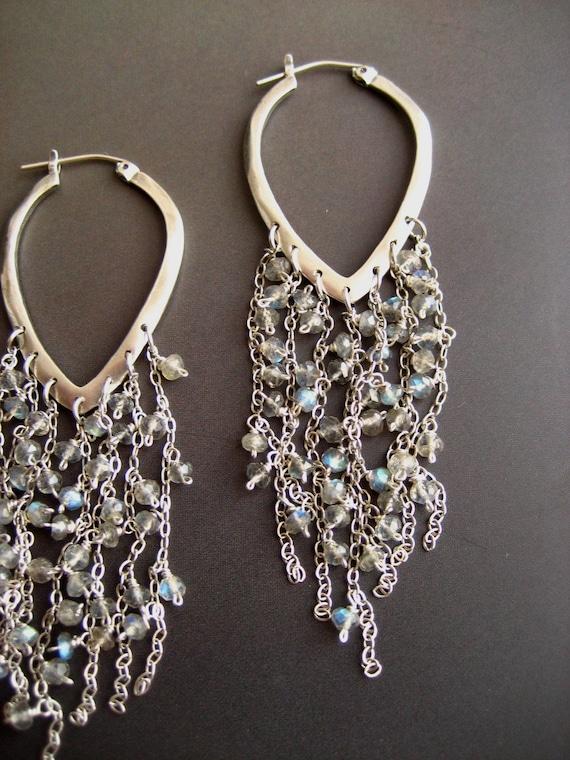 Sterling silver hoop earrings with faceted labradorite dangles