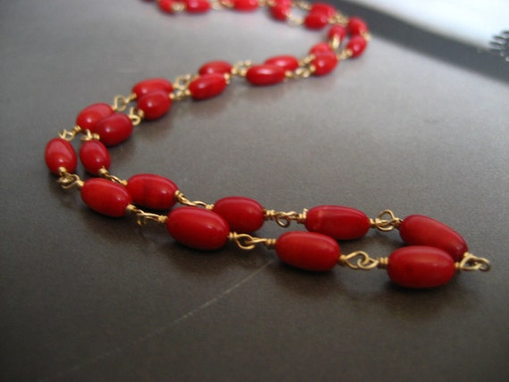 Rice shaped coral bead wire wrapped necklace