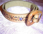 Star & Moon Tie-Dye Constellation Genuine Leather Vintage 60's Hippie Belt