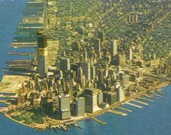 original postcard WORLD TRADE CENTER under construction  circa 1970 yellow tarp