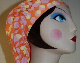 Olive martini on tangerine Banded Bouffant Surgical Cap by Nurseheadwear