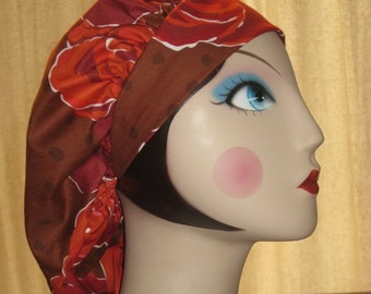 BIG Red Roses on Brown Banded Bouffant Surgical Cap by Nurseheadwear