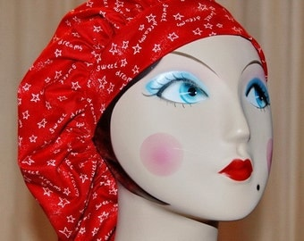Sweet Dreams on Red Banded Bouffant Surgical Cap by Nurseheadwear
