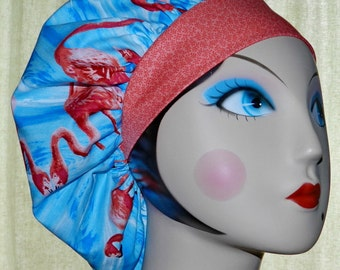 Flamingo Fun Banded Bouffant Surgical Cap