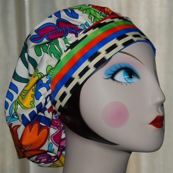 Bright Guatemala Banded Bouffant Surgical Cap by Nurseheadwear