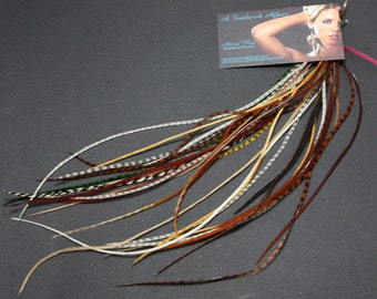25 Salon Grade Long Feather Extensions Natural Colors 8-12 inches