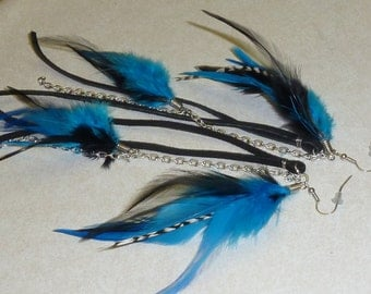 Black and Blue long Feather Earrings with chaining and leather 9 Inches