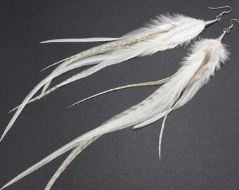 White and Grizzly Long Feather Earrings  10-12 inches