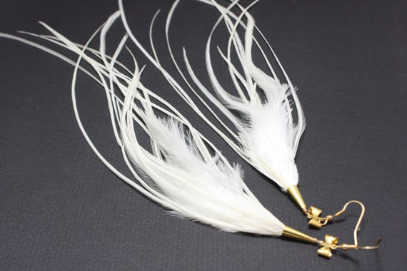 White Long Feather Earrings w/ Gold Bow top 11-13 inches